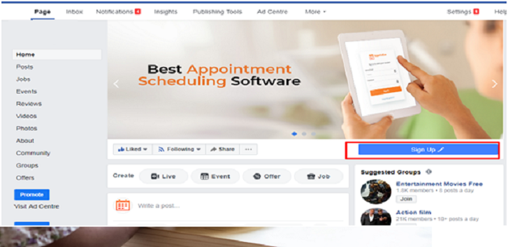 online appointment through Facebook