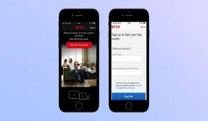 Login interface in Netflix mobile app
