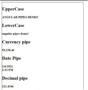 pipedemo component output